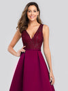 Elegant Deep V Neck Floor Length Evening Dress-Burgundy 5