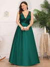 Deep V Neck Floor Length Plus Size Sparkly Evening Gown Dresses-Dark Green 4