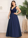 Elegant Deep V Neck Floor Length Evening Dress-Navy Blue 8