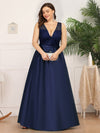 Deep V Neck Floor Length Plus Size Sparkly Evening Gown Dresses-Navy Blue 4