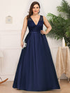 Deep V Neck Floor Length Plus Size Sparkly Evening Gown Dresses-Navy Blue 1