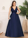 Elegant Deep V Neck Floor Length Evening Dress-Navy Blue 6