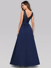 Elegant Deep V Neck Floor Length Evening Dress-Navy Blue 2