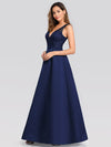Elegant Deep V Neck Floor Length Evening Dress-Navy Blue 3