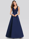 Elegant Deep V Neck Floor Length Evening Dress-Navy Blue 4
