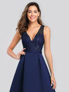 Elegant Deep V Neck Floor Length Evening Dress-Navy Blue 5