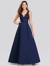 Elegant Deep V Neck Floor Length Evening Dress-Navy Blue 1