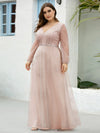 Elegant Deep V-Neck Lantern Long Sleeve Dresses-Pink 7