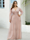 Elegant Deep V-Neck Lantern Long Sleeve Dresses-Pink 6