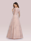 Elegant Deep V-Neck Lantern Long Sleeve Dresses-Pink 2