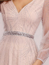 Elegant Deep V-Neck Lantern Long Sleeve Dresses-Pink 5