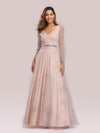 Elegant Deep V-Neck Lantern Long Sleeve Dresses-Pink 1