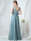 Double V-Neck Embroidered Wedding Dress-Dusty Blue 2