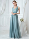 Double V-Neck Embroidered Wedding Dress-Dusty Blue  4