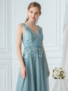 Double V-Neck Embroidered Wedding Dress-Dusty Blue  5