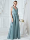 Double V-Neck Embroidered Wedding Dress-Dusty Blue  1