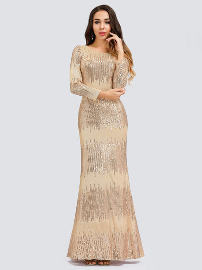 Classic Round Neckline Sequin Evening Dress with Long Sleeves