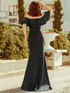 Romantic Off Shoulder Fishtail Evening Dress-Deep Grey 3