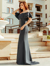 Romantic Off Shoulder Fishtail Evening Dress-Deep Grey 5