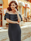 Romantic Off Shoulder Fishtail Evening Dress-Deep Grey 9