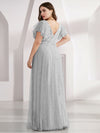 Double V Neck Lace Evening Dresses With Ruffle Sleeves-Grey 7