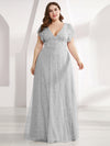 Double V Neck Lace Evening Dresses With Ruffle Sleeves-Grey 8