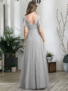 Double V Neck Lace Evening Dresses With Ruffle Sleeves-Grey 2