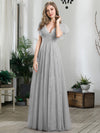 Double V Neck Lace Evening Dresses With Ruffle Sleeves-Grey 1