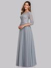 Women'S A-Line 3/4 Sleeve Floral Lace Floor Length Party Dresses-Grey 3