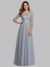 Women'S A-Line 3/4 Sleeve Floral Lace Floor Length Party Dresses-Grey  1