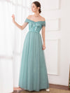 Women'S Fashion A-Line Off The Shoulder Sequin Evening Maxi Dress-Dusty Blue 4