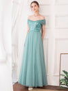 Women'S Fashion A-Line Off The Shoulder Sequin Evening Maxi Dress-Dusty Blue 1