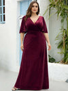 Elegant Double V Neck Velvet Party Dress-Burgundy 6