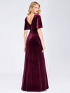 Elegant Double V Neck Velvet Party Dress-Burgundy 5