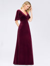 Elegant Double V Neck Velvet Party Dress-Burgundy 4