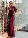 Elegant Double V Neck Velvet Party Dress-Burgundy 2