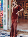 Elegant Double V Neck Velvet Party Dress-Brick Red 11