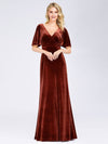 Elegant Double V Neck Velvet Party Dress-Brick Red 1