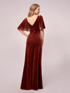 Elegant Double V Neck Velvet Maternity Dresses-Brick Red 2