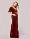 Elegant Double V Neck Velvet Maternity Dresses-Brick Red 3