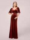 Elegant Double V Neck Velvet Maternity Dresses-Brick Red 1