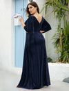 Elegant Double V Neck Velvet Party Dress-Navy Blue 5