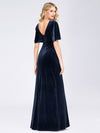 Elegant Double V Neck Velvet Party Dress-Navy Blue 2