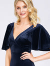 Elegant Double V Neck Velvet Party Dress-Navy Blue 3