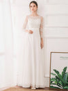 Women'S Fashion Floral Lace Long Sleeve Evening Dress-White  4