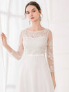 Women'S Fashion Floral Lace Long Sleeve Evening Dress-White 5