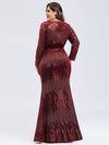 Women'S Deep V-Neck Sequin Evening Dress With Long Sleeve-Burgundy 9