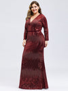Women'S Deep V-Neck Sequin Evening Dress With Long Sleeve-Burgundy 7