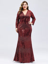 Women'S Deep V-Neck Sequin Evening Dress With Long Sleeve-Burgundy 8