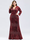 Women'S Deep V-Neck Sequin Evening Dress With Long Sleeve-Burgundy 6